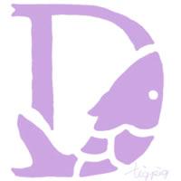 アイコン(twitter)のフリー素材:紫(パステル)の魚のイラストのDの飾り文字;200×200pix