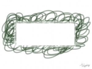 背景のフリー素材:サインペンで描いたようなラフなモスグリーンのぐるぐる;640×480pix