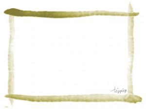 フレームのフリー素材:抹茶色の毛筆風ラインのシンプルな和風フレーム;640×480pix