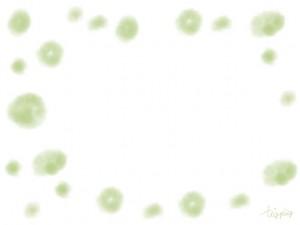 フリー素材:和風フレーム:水彩風のにみじが大人可愛い抹茶色の水玉;640×480pix