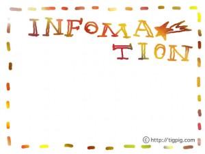 フリー素材:フレーム;にじみが大人可愛いカラフルな手書き文字「INFORMATION」;640×480pix