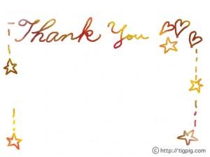 フリー素材:フレーム;ハートと星とカラフルな手書き文字「ThankYou」;640×480pix