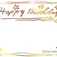 フリー素材:フレーム;カラフルなにじみが大人可愛いHappyBirthdayの手書き文字;640×480pix