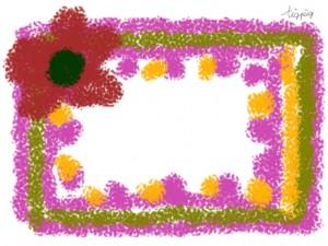 フリー素材:フレーム;北欧風の色遣いの花と模様が大人可愛いクレヨン画風の飾り枠;640×480pix