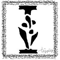 フリー素材:アイコン(twitter),背景;モノトーンのスタンプ風の手書き文字「I」;200×200pix