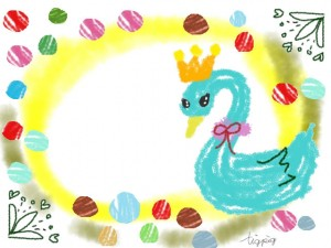 大人可愛いフリー素材:フレーム;パステルブルーのガーリーな白鳥のイラストの飾り枠;640×480pix