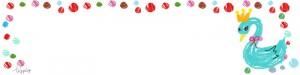 ブログヘッダー用フリー素材:水玉の枠とパステルブルーのガーリーな白鳥のイラスト;800×200pix