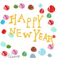 年賀状,アイコン,バナー(twitter)の無料素材:カラフルな水玉とHAPPY NEW YEARの手書き文字の;200×200pix