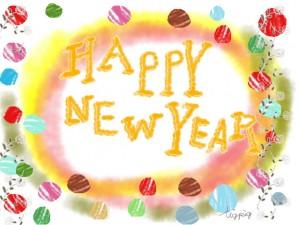 年賀状の大人可愛いフリー素材:HAPPY NEW YEARの手書き文字と薔薇とカラフルな水玉と水彩風のにじみ;640×480pix