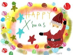 クリスマスのフリー素材:ポップなサンタクロースと水玉と水彩風のにじみの無料イラスト;640×480pix