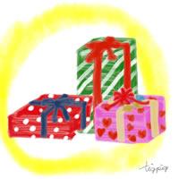アイコン(twitter)のフリー素材;プレゼントボックスのイラストと水彩風の黄色のにじみの背景;200×200pix