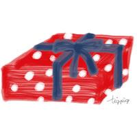 アイコン(twitter)のフリー素材;赤×白ドット模様と青いリボンのプレゼントボックスのイラスト;200×200pix
