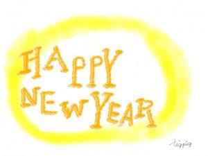 年賀状のフリー素材:HAPPY NEW YEARの手書き文字と黄色の水彩風のにじみ;640×480pix