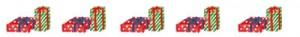 飾り罫のフリー素材:赤と緑のプレゼントボックスの無料イラスト