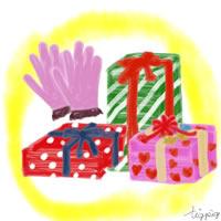 冬のギフトのアイコン(twitter可);ピンクの手袋とプレゼントボックス;200×200pix