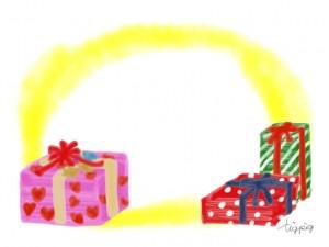 フリー素材:フレーム;ガーリーなクリスマスプレゼント無料イラスト;640×480pix