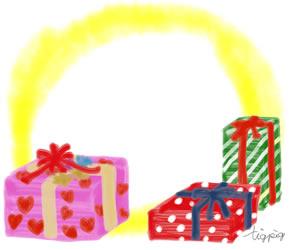 バナー広告のフリー素材:大人可愛いプレゼントボックスの無料イラスト;300×250pix