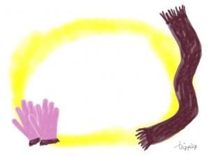 フリー素材:フレーム;大人可愛い手袋とマフラーのイラストのイラスト;640×480pix