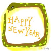 アイコン(twitter)のフリー素材;ガーリーなヘビ(巳)とHAPPY NEW YAERの手書き文字;200×200pix