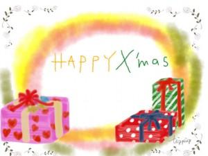 クリスマスプレゼントのイラストとHAPPYX'masの手書き文字のフリー素材;640×480pix