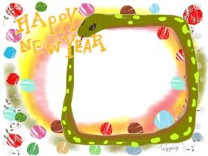 ガーリーなヘビ(巳)とHAPPY NEW YAERの手書き文字:バナー広告,web制作のフリー素材;640×480pix
