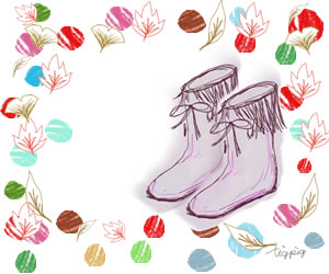 ブーツと落ち葉とドットのガーリーイラストのフレームのバナー広告のフリー素材