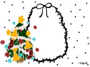 ポップなクリスマスツリーのイラストとモノトーンのリボンとドットのフレームのフリー素材;640×480pix