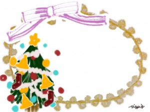 クリスマスのフリー素材:クリスマスツリーとピンクのストライプのリボンとポンポンレースのフレーム;640×480pix