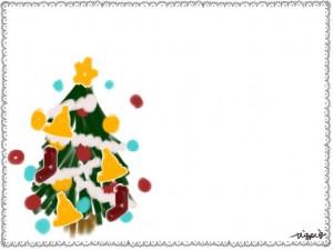 クリスマスのフリー素材:フレーム;モノトーンのシンプルなレースのフレームとクリスマスツリー;640×480pix