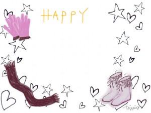 秋,冬のフリー素材:フレーム;モノトーンの星とハートと手袋、マフラー、ブーツのイラスト;640×480pix