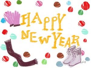大人可愛いフリー素材:HAPPY NEW YEARの手書き文字とブーツと手袋とドットのガーリーイラスト