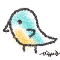 アイコン(twitter,mixi,ブログ)のフリー素材:ナチュラルデザインの落書きみたいな青い小鳥の手描きイラスト
