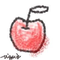 アイコン(twitter,mixi,ブログ)のフリー素材:ナチュラルデザインの落書きみたいなりんごの手描きイラスト