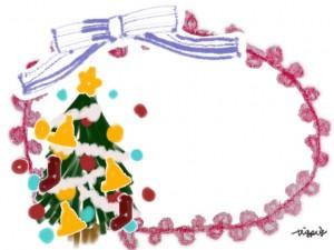 大人可愛いフリー素材:ブルーのストライプのリボンと赤のポンポンレースとクリスマスツリー