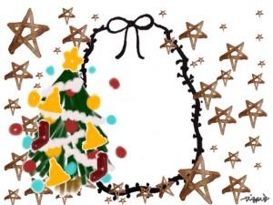 大人可愛いクリスマスツリーと水彩の星とモノトーンのリボンのフレームのフリー素材:400×100pix