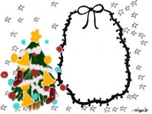 ガーリーなクリスマスツリーとモノトーンの星とリボンの枠のフリー素材:640×480pix