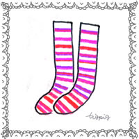 手描きイラストのアイコンのフリー素材:ピンクのストライプの靴下とモノトーンのレース;200×200pix
