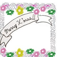 森ガール風フリー素材:手描きのMerry X'masの文字のリボンと小花とモノトーンのレース;200×200pix