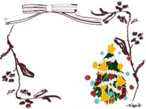 北欧風のナチュラルな枝とリボンとクリスマスツリーの枠のフリー素材:640×480pix