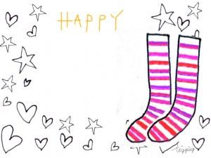 大人可愛い手描きの星とハートとピンクのストライプの靴下のフリー素材:640×480pix