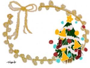 ポップなクリスマスツリーと芥子色のリボンとポンポンレースの飾り枠のフリー素材:640×480pix