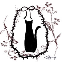黒猫のシルエットとモノトーンのリボンとナチュラルな木の枝のフリー素材:200×200pix