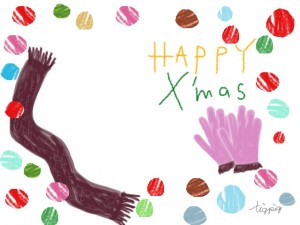 HAPPY X'masのかわいい手書き文字と手袋とマフラーのイラストとカラフルなドットのフリー素材:640×480pix