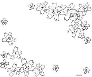 モノトーンの桜のかわいいイラストのバナー広告のフリー素材:300×250pix