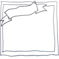 北欧風のラフな手描きの鉛筆ラインのフレームと見出しのリボンのフリー素材:200×200pix