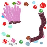 ガーリーなピンクの手袋とブラウンのマフラーとポップなドットのフリー素材:200×200pix