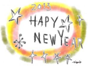 2013 HAPY NEW YEAR の手書き文字とカラフルなにじみのフリー素材:640×480pix