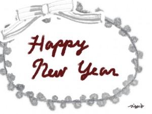 Happy New Year の手書き文字と大人可愛いグレーのピコットレースとリボンのフレーム;640×480pix