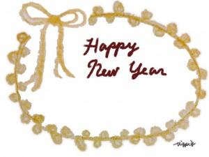 HAPPY NEW YEARの手書き文字とピコットレースとリボンの飾り枠のフリー素材