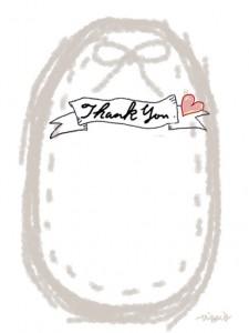 Thank youの手書き文字とパステルグレーのリボンとステッチのラベルのフリー素材